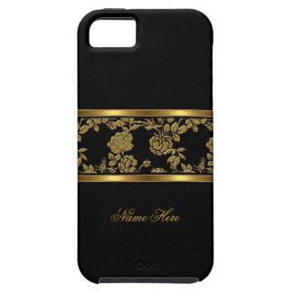 noir chic élégant d'or de l'iPhone 5 floral