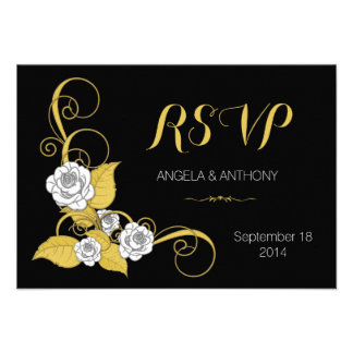 Noir d'argent d'or de rose blanc épousant la répon bristols personnalisés