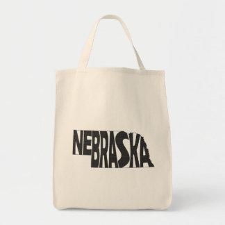 Noir d'art de mot de nom d'état du Nébraska Sac
