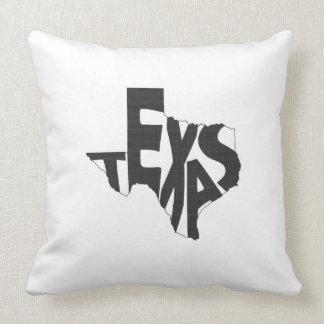 Noir d'art de mot de nom d'état du Texas Coussins Carrés