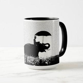 Noir d'art de pluie d'éléphant tasse combinée de