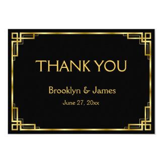 Noir d'art déco et cartes de Merci de mariage d'or Carton D'invitation 12,7 Cm X 17,78 Cm