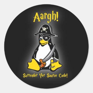 Noir d'autocollant de pirate de pingouin de Linux Sticker Rond