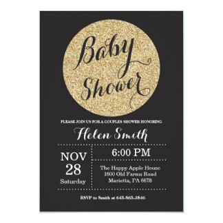 Noir de baby shower et invitation de scintillement