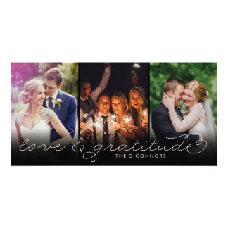 Noir de cartes photos de Merci de mariage d'amour