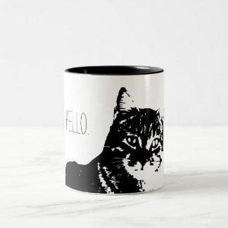 Noir de chat bonjour tasse à deux tons de 11 onces