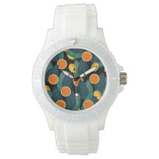 noir de citrons et d'oranges montres bracelet