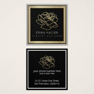 noir de concepteur de bijoux joli et chic carte de visite carré