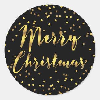 Noir de confettis de feuille d'or de Joyeux Noël Sticker Rond