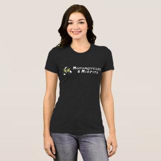 Noir de dames de motos et de vêtements manqués t-shirt