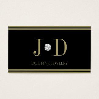 Noir de diamant de bijoutier/rayures d'or cartes de visite