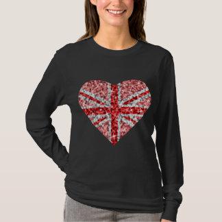 Noir de douille de coeur rouge BRITANNIQUE de T-shirt