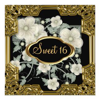 Noir de fête d'anniversaire du bonbon 16 carton d'invitation  13,33 cm