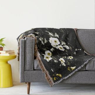 noir de fleurs blanches couvre pied de lit