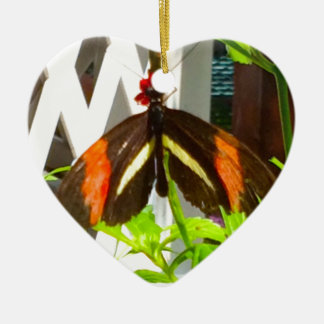 Noir de jaune orange de papillon ornement cœur en céramique