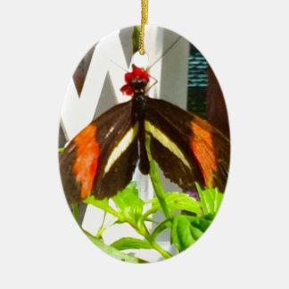 Noir de jaune orange de papillon ornement ovale en céramique