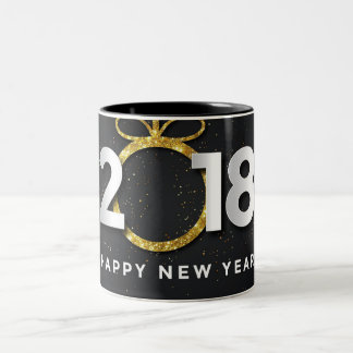Noir de la bonne année 2018 tasse à deux tons de