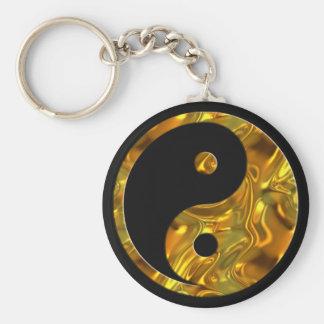 Noir de l'OR | de Yin et de Yang Porte-clé Rond