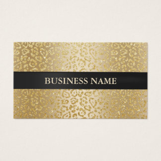 Noir de luxe de léopard d'or de salon de beauté cartes de visite