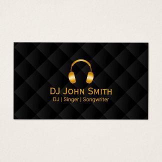 Noir de luxe et or d'icône d'écouteurs du DJ Cartes De Visite