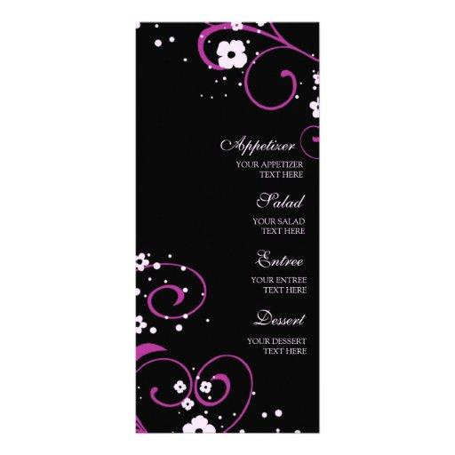 Noir de menu de mariage et floral rose carte double en  couleur