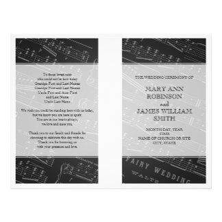 Noir de musique de feuille de programme de mariage prospectus 21,6 cm x 24,94 cm