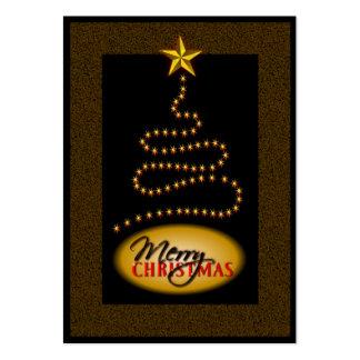 Noir de Noël et étiquettes de cadeau d'or Carte De Visite Grand Format