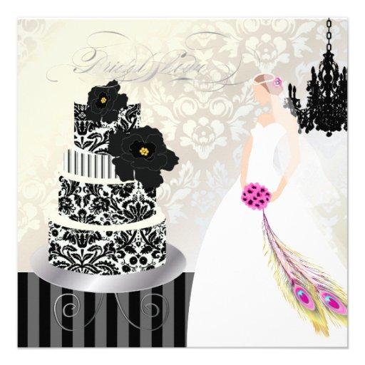 Noir de PixDezines+Gâteau de mariage blanc Carton Dinvitation 13,33 ...