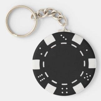 noir de porte - clé de jeton de poker porte-clé rond