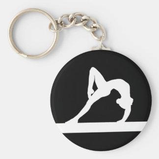 Noir de porte - clé de silhouette de gymnaste porte-clé rond