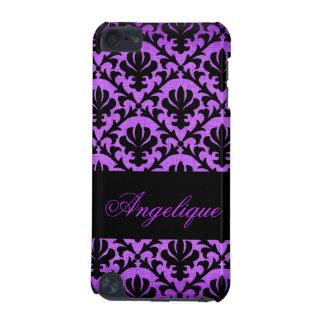 Noir de rose de damassé de monogramme élégant coque iPod touch 5G