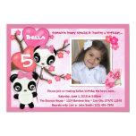 Noir de rose d'invitation d'anniversaire de panda