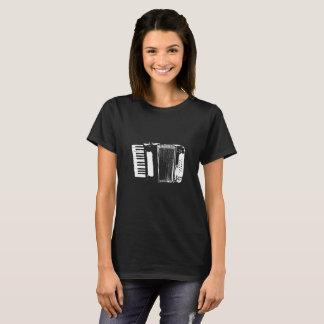 Noir de T-shirt de silhouette d'accordéon