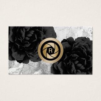 Noir de volet d'or de monogramme de photographe cartes de visite