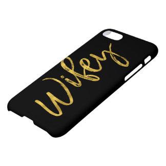 Noir de Wifey et typographie de feuille d'or Coque iPhone 8/7