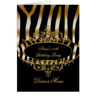 Noir de zèbre d'or de carte de menu de dîner