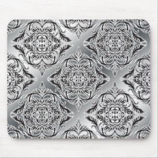Noir débonnaire de damassé, blanc, argent tapis de souris