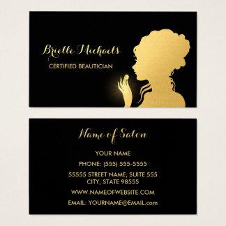 Noir d'esthéticien et maquilleur de femme d'or de cartes de visite