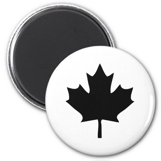 noir d'icône de feuille d'érable du Canada Magnet Rond 8 Cm