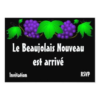 Noir d'invitation de nouveau Beaujolais Carton D'invitation 12,7 Cm X 17,78 Cm