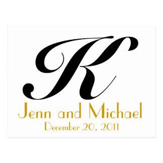 Noir d'or de carte de faire-part du monogramme K