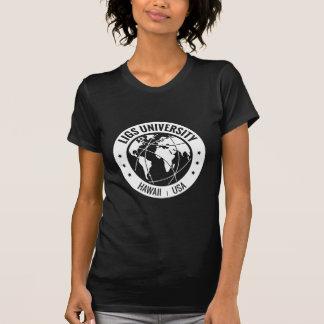 Noir du T-shirt des femmes d'université de LIGS