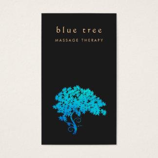 Noir élégant 2 de logo d'arbre de zen de turquoise cartes de visite