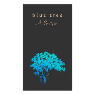Noir élégant de logo d'arbre de zen de turquoise carte de visite standard