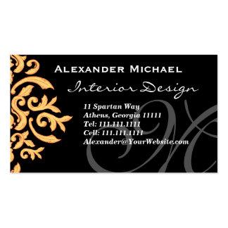 Noir élégant de monogramme et damassé d'or carte de visite