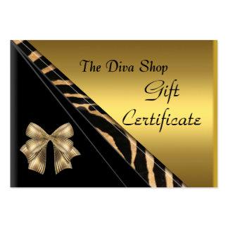Noir élégant d'or de carte de certificat-prime carte de visite grand format