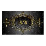 Noir élégant et cadre vintage de dentelle d'or d'o modèles de cartes de visite