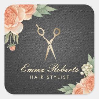 Noir élégant floral vintage et or de coiffeur sticker carré