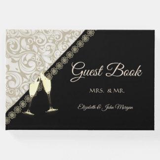 Noir élégant, livre d'invité de damassé