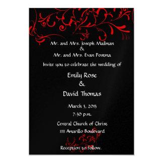 Noir élégant, rouge, blanc carton d'invitation  12,7 cm x 17,78 cm